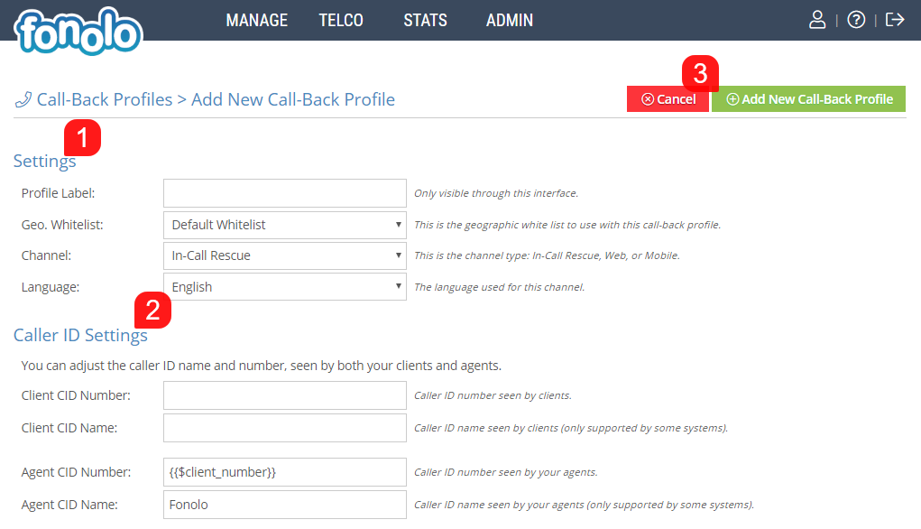 How to Add a New Call-Back Profile – Fonolo Help