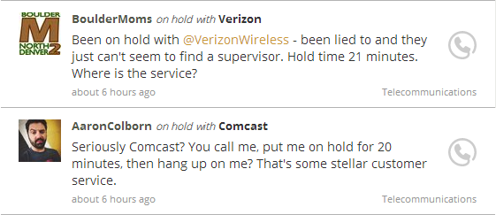 onholdwith Verizon and Comcast