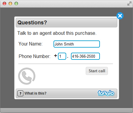 Click-to-Call-Back Widget
