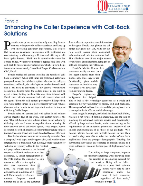 Fonolo Named Most Promising Contact Center Technology Solution Provider By CIOReview