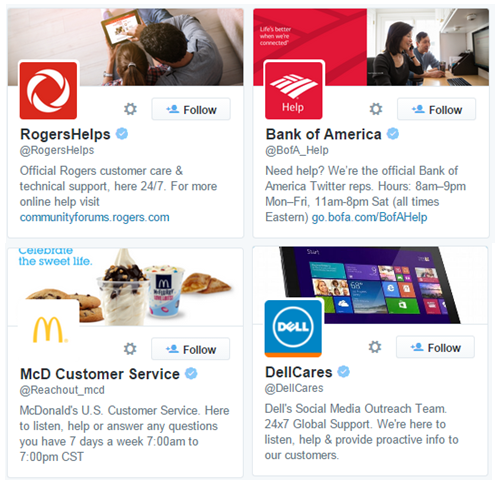 Various Customer Service Accounts