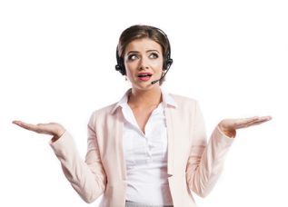 female call center agent holding her hands wide and looking confused