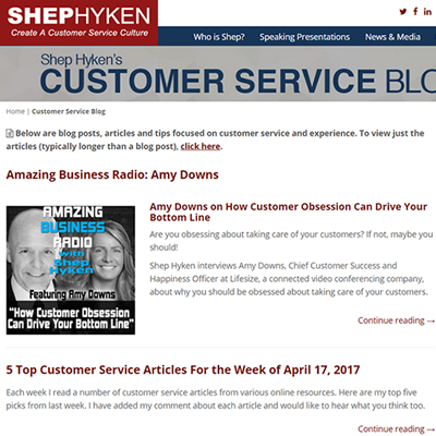 Shep Hyken Customer Service Blog