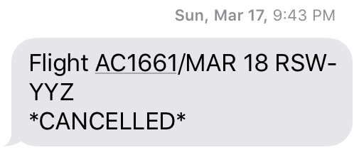 image of text from AC 'flight cancelled'
