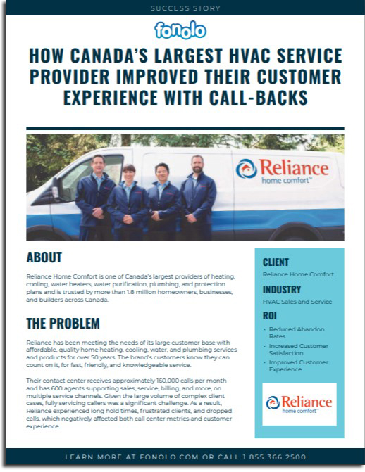 Reliance Home Comfort and Fonolo Call-Backs Success Story
