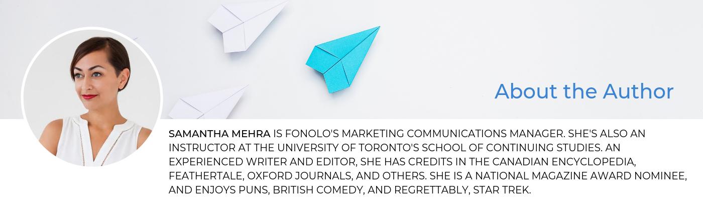 Samantha Mehra Blog Bio Fonolo
