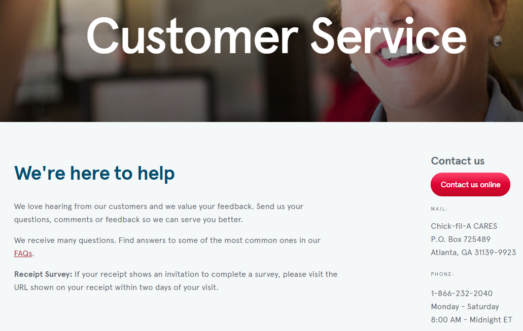 Chick-Fil-A Customer Service Website
