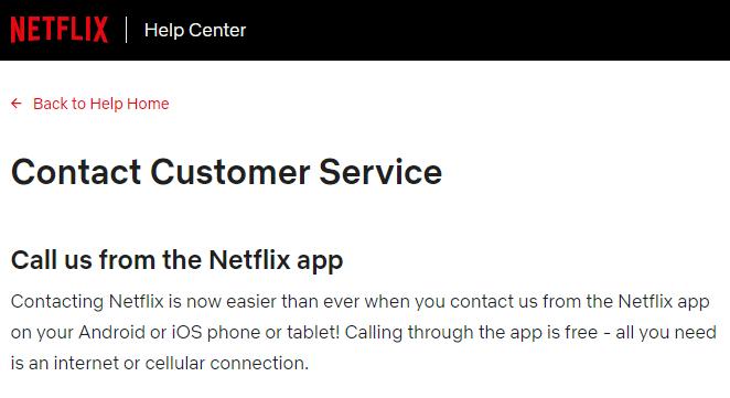 Netflix Customer Service Page