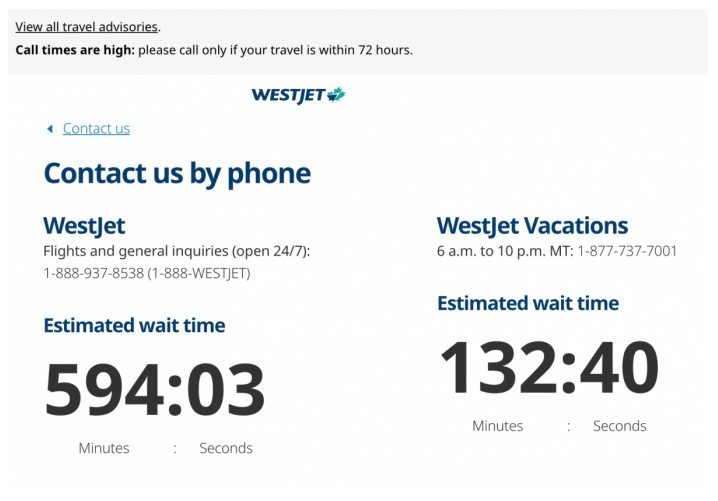 westjet wait times from website