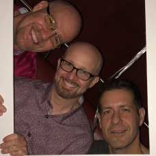 Chris poses for a photo with Shai Berger and Jason Bigue of Fonolo