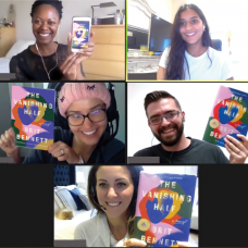 Simon and four of his fellow coworkers are pictured on Zoom, each holding up a colourful book at their virtual book club meeting.