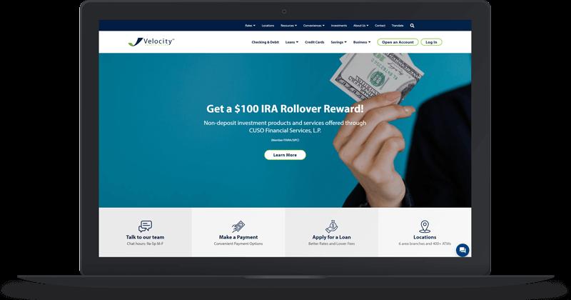 Velocity CU website screenshot