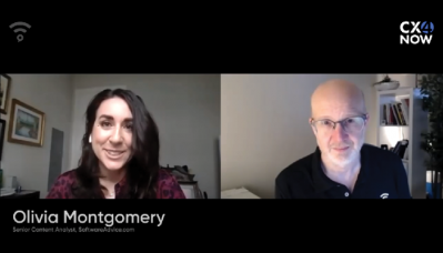 A video screencap of Olivia Montgomery talking to Shai Berger in a side-by-side video chat