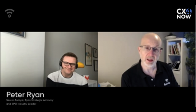 A video screencap of Peter Ryan talking to Shai Berger in a side-by-side video chat